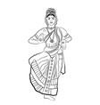 indian dancing woman vector image vector image
