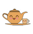 kawaii teapot and cup beverage cartoon vector image vector image