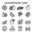 lemon orange icon set in thin line style vector image vector image