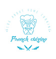 Logo with french bulldog in chefs hat and twigs vector image vector image