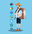 man tourist with bag camping and set icons vector image vector image