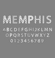 memphis alphabet and numbers vector image