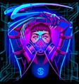 neon zodiac sign cancer vector image vector image