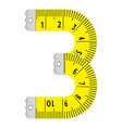 number three ruler icon cartoon style vector image