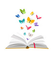 open book with butterflies vector image