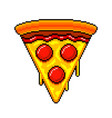 pixel slice of pizza detailed isolated vector image