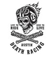 racing emblem with skull in helmet vector image vector image