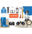 realistic camping elements collection vector image