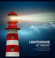 Realistic lighthouse in the night sky background