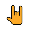 rock and roll flat icon sign of the horns for vector image