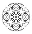 Round black flower pattern on white background vector image