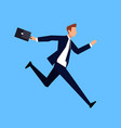 running businessman in a flat style vector image vector image