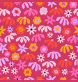 seamless pattern abstract flowers pink red vector image vector image