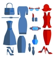 Set isolated womens clothing and accessories dress vector image