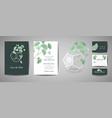 set of botanical retro wedding invitation card vector image vector image