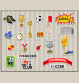 soccer stickers set all elements isolated vector image