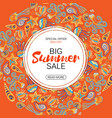 summer sale round frame marine life vector image vector image