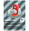 survival kit color isometric poster vector image vector image