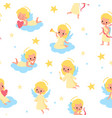 sweet angels seamless pattern babies with wings vector image vector image