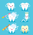 Tooth With Brush And Toothpaste Character Set vector image vector image