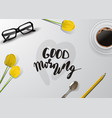 woman blogger workspace with glasses vector image vector image