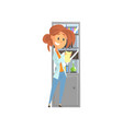 young girl laboratory assistant standing and vector image vector image