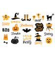 halloween design elements set vector image