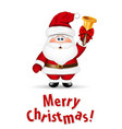 Santa Claus with gold christmas bell vector image
