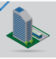 isometric city - bus on road building and trees vector image