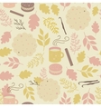 Seamless pattern with mugs of tea and cookies vector image
