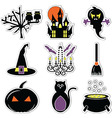 2 Halloween icons set in colour label vector image