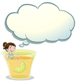 A smiling child swimming on a glass of lemonade vector image vector image