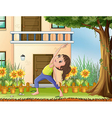 A young girl exercising in front of the house vector image vector image
