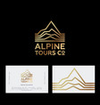 alpine mountains tours peaks logo travel vector image vector image