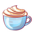 aroma drink with whipped cream coffee vector image vector image