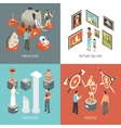 Art Museum 4 Isometric Icons Square vector image vector image
