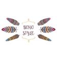 Boho Style Frame Border with Decorative Bird vector image