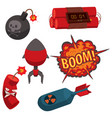 bomb dynamite fuse grenade vector image