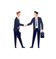 businessmen in a flat style handshake vector image vector image