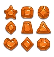 Cartoon orange different shapes gem set vector image