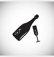 champagne bottle with glass on white background vector image vector image