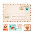 christmas old greeting postal card vintage vector image vector image