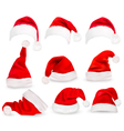 collection red santa hats vector image vector image