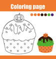 coloring page with halloween cupcake drawing kids vector image vector image