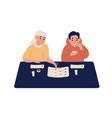 couple eat at sushi bar flat vector image
