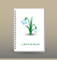 cover of diary notebook with ring spiral snowdrop vector image vector image