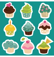 cupcake icons vector image vector image