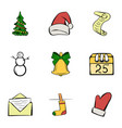 december icons set cartoon style vector image vector image