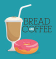 delicious donut and coffee label vector image vector image