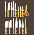 different types of kitchen knives set vector image vector image